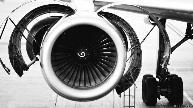 La turbina de un avión