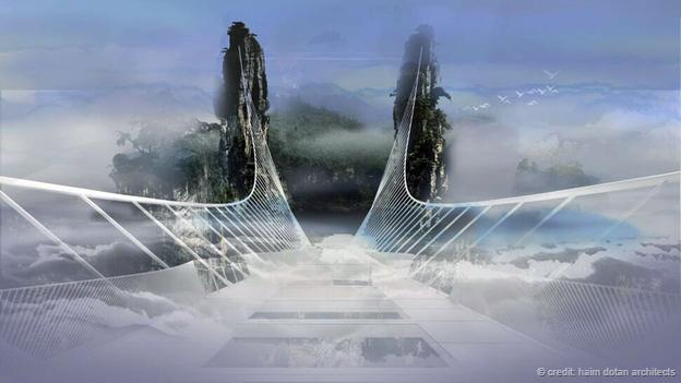 """""""张家界玻璃机械的设计理念是尽可无形消失栈桥成为在云中的一座设计制造及自动化报一建图片"""