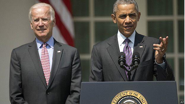 El presidente de Estados Unidos Barack Obama y el vicepresidente Joe Biden.