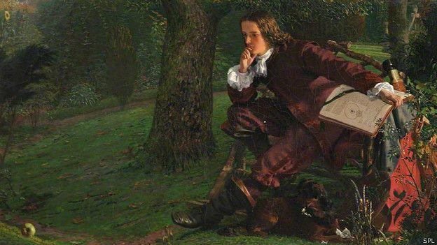 Isaac Newton pintado por Robert Hannah en la década de 1850.