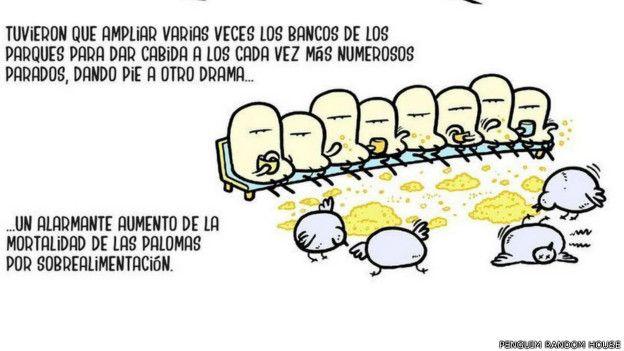 El autor Alex Saló describe en esta viñeta el problema de los desempleados en España. Llamados