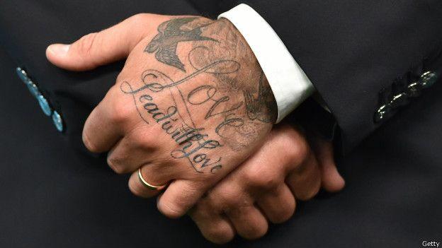 Las manos de David Beckham