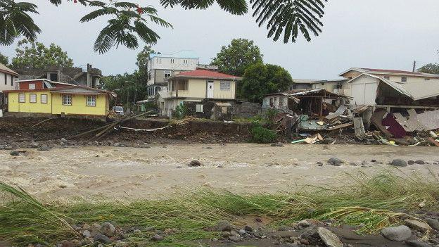 Casas de Dominica afectadas por Érika