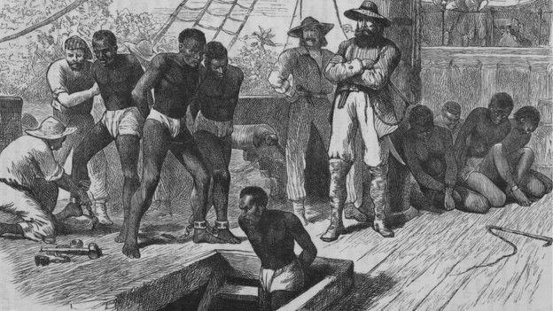 Esclavos en un barco, ilustración