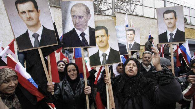 Marcha a favor de Putin en Siria