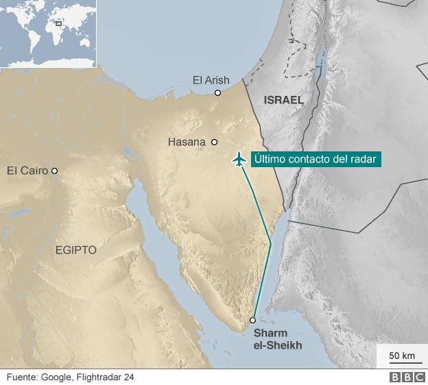 Mapa con la ruta del avión ruso.