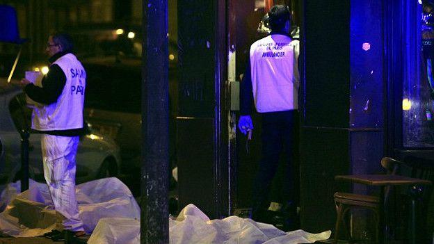 Muertos en las calles de París