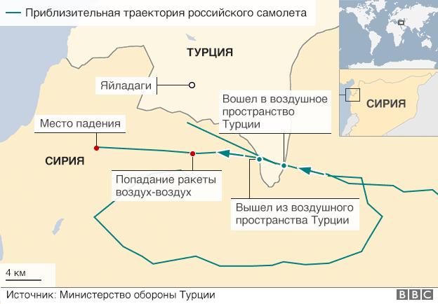 На карте обозначена траектория сбитого российского самолета