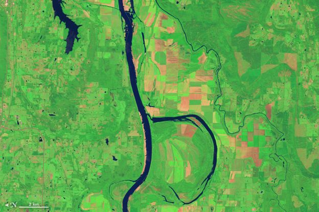 Río Arkansas. Foto: NASA
