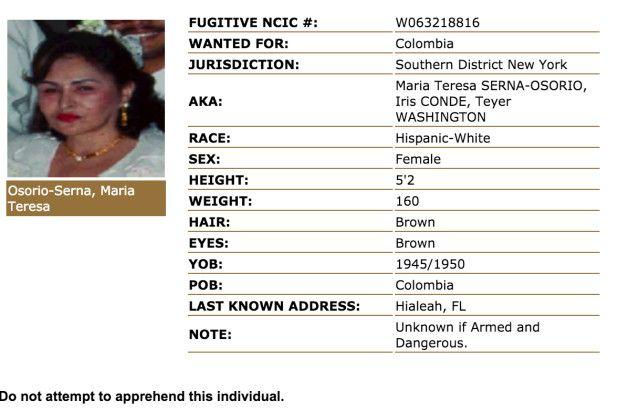 Ficha de María Teresa Osorio de Serna en la división de Nueva Jersey de la DEA