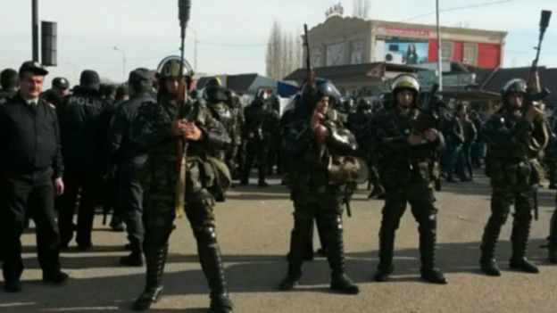 Протесты в городе Сиазань на севере Азербайджана