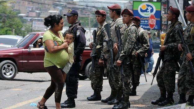 Agentes de seguridad en Tegucigalpa