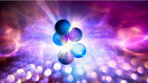 Atómos que se fusionan dentro de una estrella