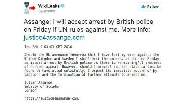 Mensaje en Twitter de Assange