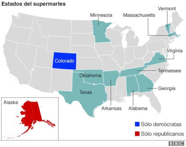 Mapa de estados Supermartes
