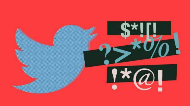 Composición del símbolo de Twitter y palabrotas