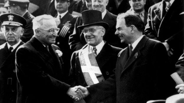 Harry S. Truman y Thomas E. Dewey