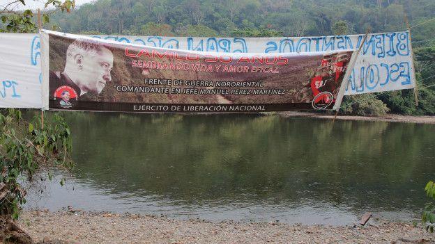 Cartel del ELN con la figura de Camilo Torres