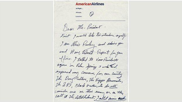 Написанное от руки письмо Элвиса президенту с предложением