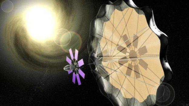 Esta obra artística muestra cómo una vela solar podría funcionar en las naves espaciales.