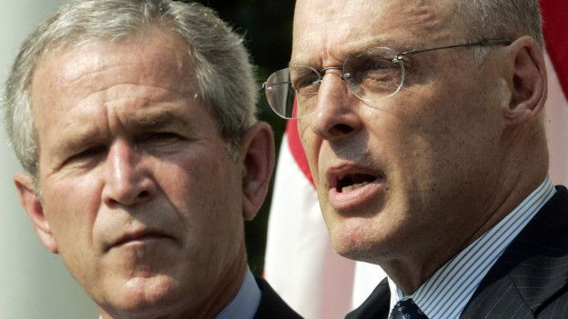 George Bush y Hank Paulson
