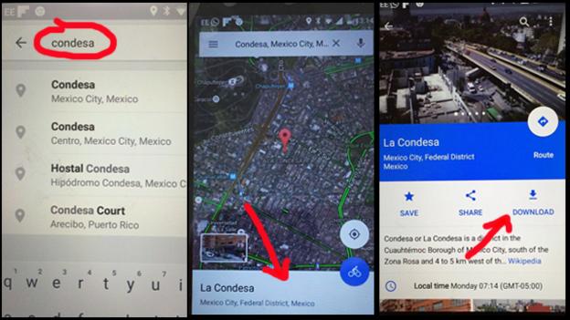 Bajando en Google Maps