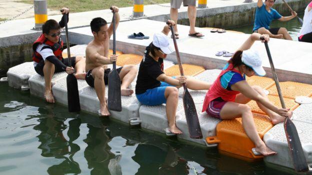 楊同學和隊友在岸邊練習基本動作。