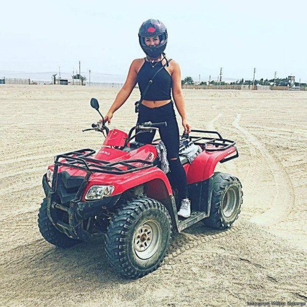 罗贝热在社交网站Instagram上晒出的在秘鲁玩沙滩车的照片。