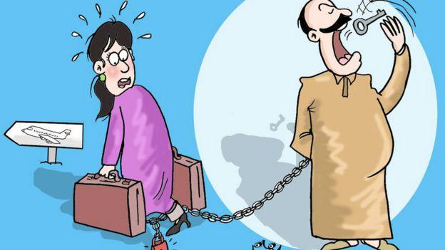 她選擇的主題是國外旅遊。許多摩洛哥男人使用法律禁止他們的妻子出國旅遊。