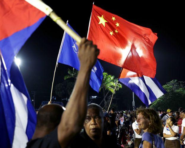 聖地亞哥悼念集會上的一面中國國旗(3/12/2016)