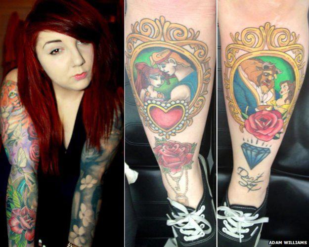 Amii com tatuagens a mostra e sem