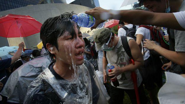 Manifestante en Hong Kong