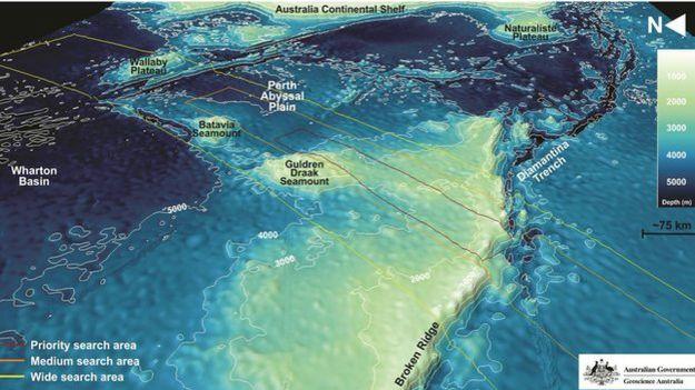 Mapa del lecho marino en el Océano Índico