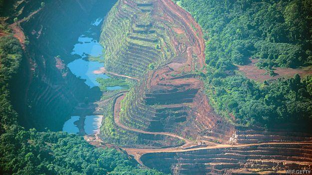Explotación minera en la Amazonia