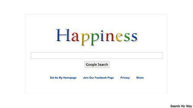 Надпись Happiness вместо Google