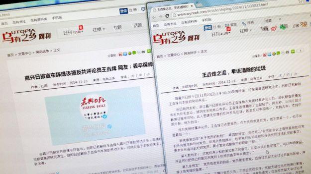 烏有之鄉批評王垚烽的文章(BBC中文網圖片24/11/2014)