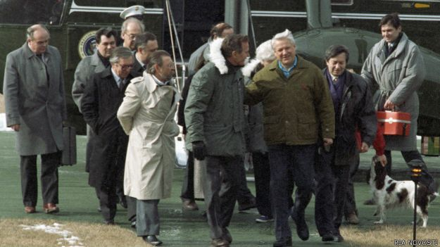 Президент России Борис Николаевич Ельцин посетил загородную резиденцию Президента США Джорджа Буша в Кэмп-Девиде. Встреча