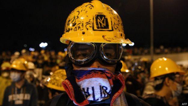 Протестующие студенты в Гонконге
