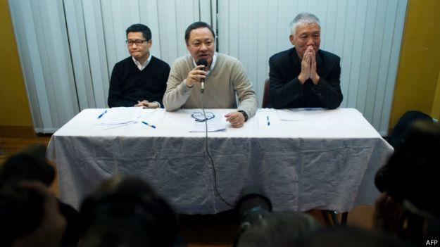 Пресс-конференция лидеров протеста в Гонконге