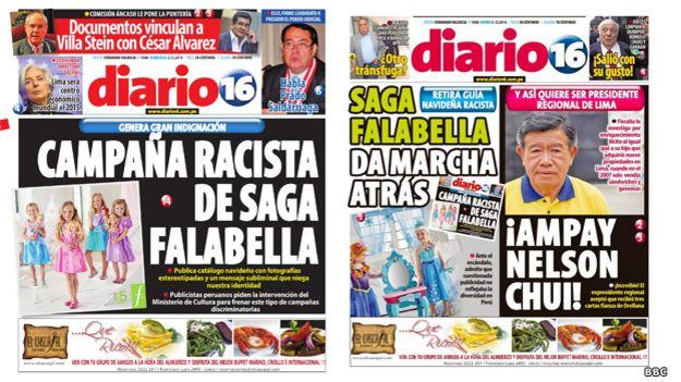 Periódicos peruanos dan cuenta de la polémica y la decisión de Saga Falabella de retirar la publicidad.