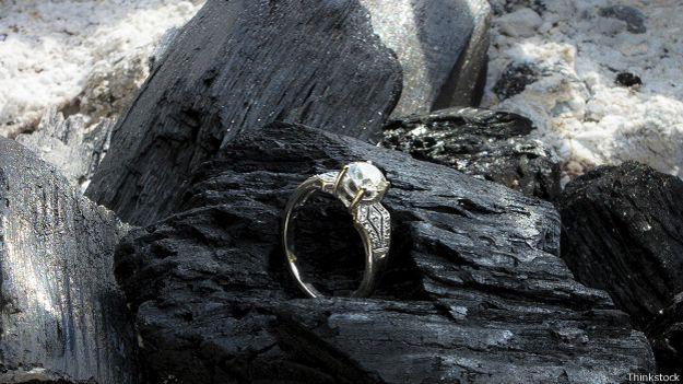 Кольцо с бриллиантом и уголь