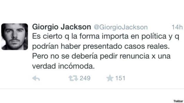 Tuit de Giorgio Jackson
