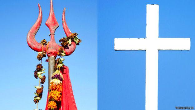 त्रिशूल और क्रॉस, हिन्दू, ईसाई