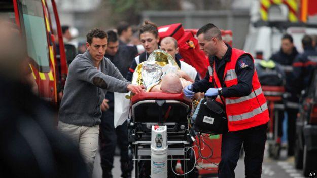 Escena del ataque a la sede de Charlie Hebdo en París
