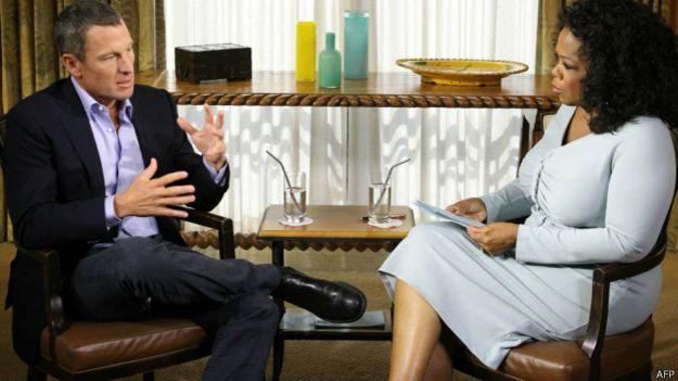 Lance Armstron e Oprah / Crédito: AFP