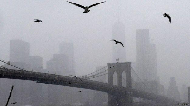 Bầu trời Manhattan nhìn từ Cầu Brooklyn với cánh hải âu trên Sông Đông (East River) và Cảng New York