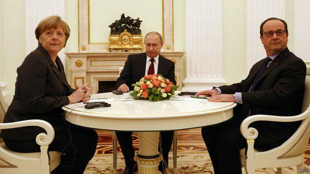 Ангела Меркель, Владимир Путин и Франсуа Олланд в Кремле
