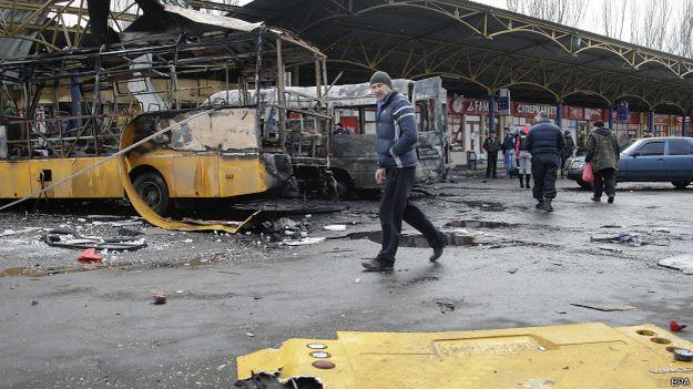Следы очередного обстрела в Донецке