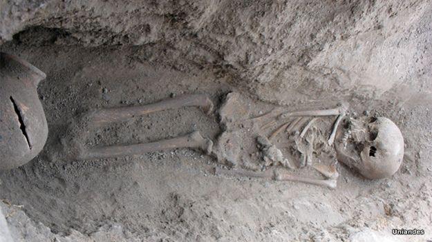 Huesos muiscas en el sitio arqueológico de Tibanica