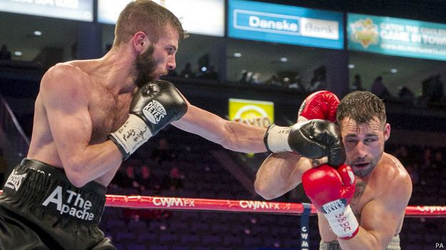 Anthony Cacace (left) in action against Santiago Bustos at the Odyssey Arena, Belfast.